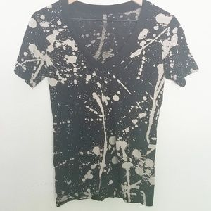 Black & Cream Splatter Paint Cotton V Neck Tee